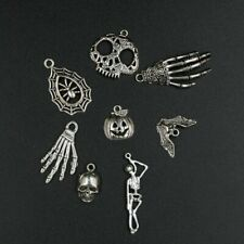 10 Halloween Charms Antique Silver Tone Bat Pendants Findings Skull Witch Mix