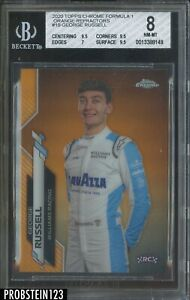 2020 Topps Chrome Formula 1 F1 George Russell RC Orange Refractor /25 BGS 8