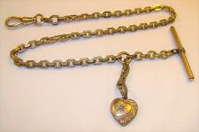 """Nice Vintage Heavy Cross Link 12"""" Pocket Watch Chain Fob Toggle Gold Filled"""