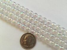 125 pcs Very Pretty Clear w AB Finish 6mm Round Craft Acrylic Beads