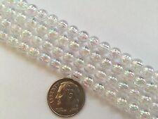125 pcs Very Pretty Clear w AB Finish 6mm Round Craft Acrylic Beads