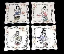 4 Lucious Fabulous Delicious Marvelous Diva Ladies Square Scalloped Plates NWT