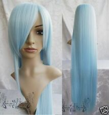 New Heat Resistant light blue long straight Cosplay Wig 100cm
