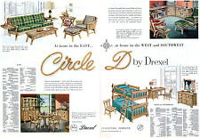 Drexel Furniture CIRCLE D Buffet BENCH Bedroom BUNK BEDS Dining 4-Page 1954 Ad