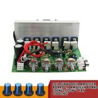 3CH Subwoofer Amplifier Board 2.1 Amplifier Board 100W*2+120W*1 Fan Cooling