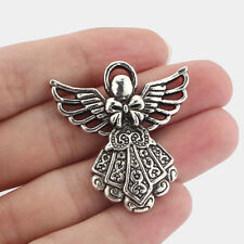 5pcs Antique Silver Tone Angel Wings Large Charms Necklace Pendant 41x39mm