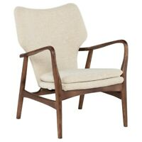 """30"""" W Occasional Chair Off White Boucle Solid Walnut Wood Frame Modern"""