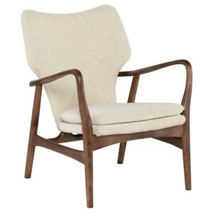 "30"" W Occasional Chair Off White Boucle Solid Walnut Wood Frame Modern"