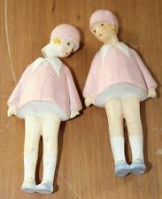 Two RARE ANTIQUE Flapper Girls GERMAN MINIATURE BISQUE Dolls NODDERS