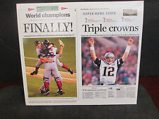 RED SOX &PATRIOTS COMBINED BOSTON GLOBE 2004  WORLD CHAMPIONS POSE MAGNET