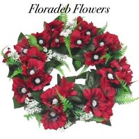 ARTIFICIAL SILK FLOWERS.....30cm ANEMONE & FERN WREATH IN RED