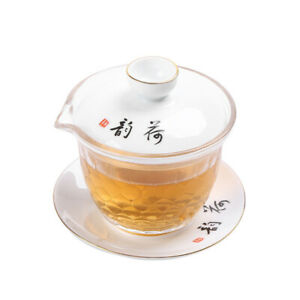 Chinese Borosilicate glass cup bowl set gaiwan porcelain lid cup saucer pitcher