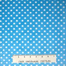 "Ultra Soft Minky Fabric - Nursery Baby Polka Dot on Robin's Egg Blue - 60"" YARD"