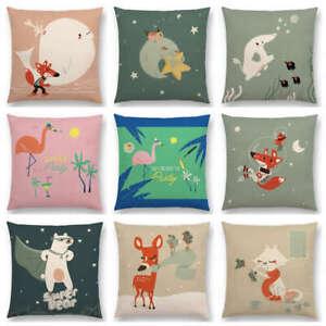 Cartoon Animals Flamingo Fox Whale Elephant Deer Bear Cat Happy  Cushion Cover