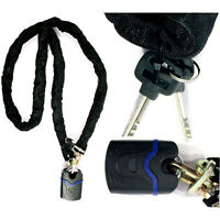 Motorcycle Lock 2m Heavy Duty Chain and Padlock Hardened Steel Rust Proof Cover