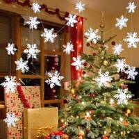 12x Christmas 3D White Glitter Snowflake String Xmas Tree Hanging Ornaments DIY