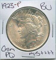 1923-P Peace Dollar Uncirculated US Mint Coin PQ Gem Silver Coin BU Unc MS++++