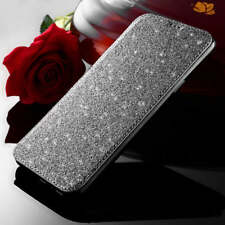 For Samsung Galaxy S9 S8 Bling Glitter Slim book PU Leather TPU wallet Flip Case