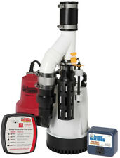 Emergency Backup Sump Pump System 1/3 HP Combination Unit Dual Float Aluminum