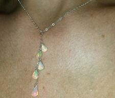 4ctw Natural genuine Ethiopian Fire Opal drop on solid silver pendant necklace