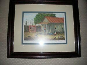 Louisiana Jack Meyers Folk Art used 399/1000 print signed washing day quilt hang