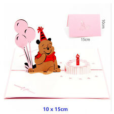 3D Pop Up Greeting Card Bear Happy Birthday Mother's day Thanks Gift Postcard