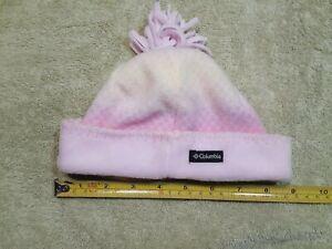 0/S Infant Columbia Fleece Beanie Pink /Yellow Baby Girl Pom Pom EUC