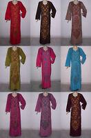 Cotton Embroidered Women Kaftan Caftan long Arabic Dress Abaya Jilbab #DM