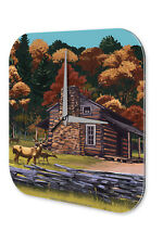 Wall Clock Feng Shui Picture  Forest Lodge, deer Decorative Acrylglass