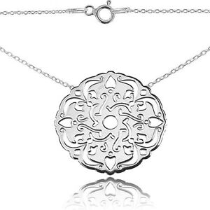 Open Work Circle Lace Inspired Sterling Silver Necklace. 45cm Chain Included.