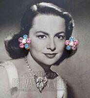 STUNNING VINTAGE 1950s RHINESTONE CLIP ON EARRINGS PERFECT COND BRIDAL JEWELLERY