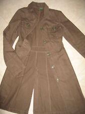 giacca lunga/trench BENETTON verde militare-cotone-S-small-soprabito-spolverino