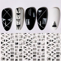 3D Nail StickerS Sliver Black Geometric Self-Adhesive Nail Art Transfer Decals