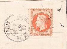 France Paris 1869 Faint Star David Dot Cancel Folded Bank Business Letter  5u