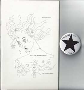 "Wicca, The Hidden Religion by Walli Elmlark (1972) chapbook 1st ed +2"" pin *NEW*"