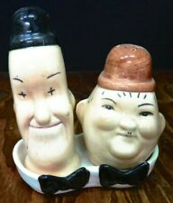 Vintage Laurel & Hardy Salt & Pepper Shakers with Tray Beswick England