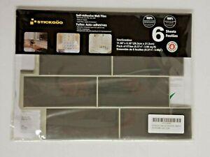 "Stickgoo Self-Adhesive Wall Tiles 11.56"" x 8.38"" Dark Grey 6 Sheets NEW"