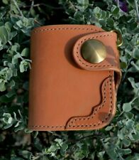 Handmade Genuine Leather Short Wallet Bifold Biker Red moon style