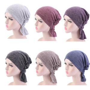 All-match Turban Solid Color head wraps Plain Hijabs Headwear Hats Elastic Caps