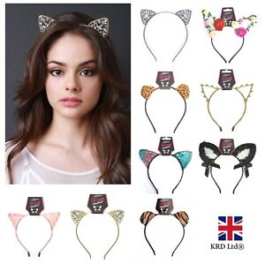 CAT EARS HEADBAND Felt Metal Wired Lace Hairband Costume Cosplay Fancy Party UK