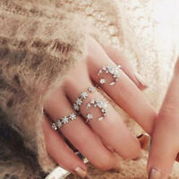 5Pcs/Set Boho Crystal Silver Star Flower Stackable Sparkly Rings Vintage Jewelry