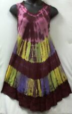 Women Clothing Tie Dye Sundress Summer Beach Sun Dress Wine Yellow Free Size