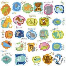 ANIMAL ALPHABET LETTERS wall stickers 52 decals school room decor nursery ABC