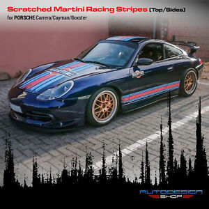 Scratched Martini Racing Stripes for Porsche Carrera / Cayman / Boxster any body