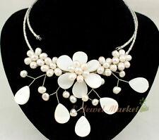 N12062367 white shell white FW pearl choker flower necklace earrings set