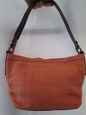 Fossil Orange Straw-look Fabric & Brown Leather Strap Purse Handbag