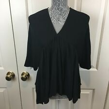 Zara Tunic Blouse Shirt Hi Lo Pleated Collarless Black Peasant Size M 6 8 Boho