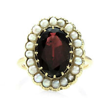 Antique Garnet and Seed Pearl Ring in 12K Yellow Gold | FJ