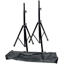 SET OF TWO 2 HIGH QUALITY ADJUSTABLE HEIGGHT SPEAKER STANDS + ZIP-UP CARRY BAG