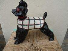 Ancien chien en faience 1940-50, Scottish Terrier , whisky black and white